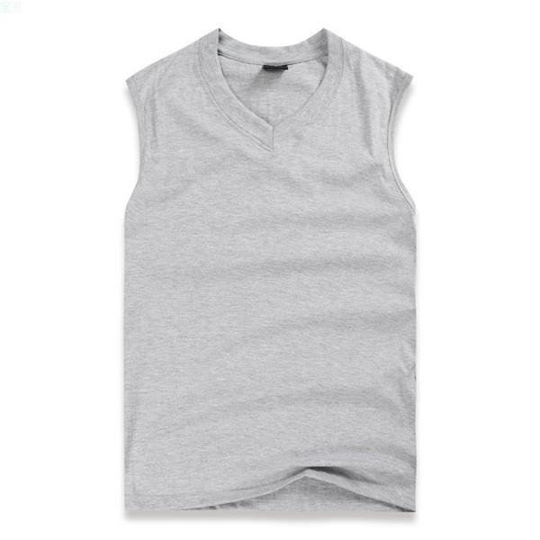 Mens V-neck Solid Color Vest Sport Gym Solid Color Casual Cotton Tanks Top Sleeveless T-shirt