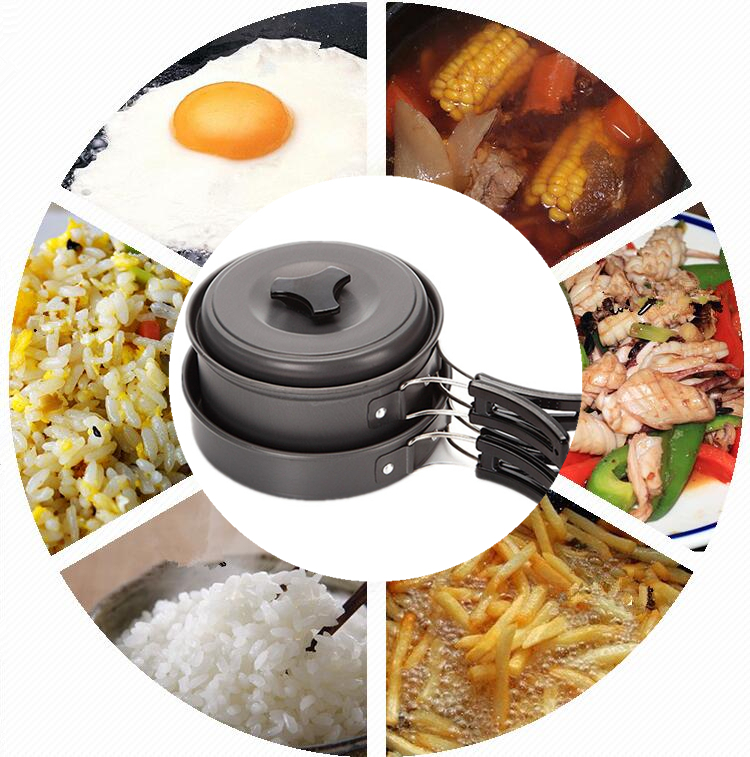 IPRee® Outdoor 1-2 Persons Picnic Pan Pot Bowl Portable Tableware Cookware Utensil Cooking Set