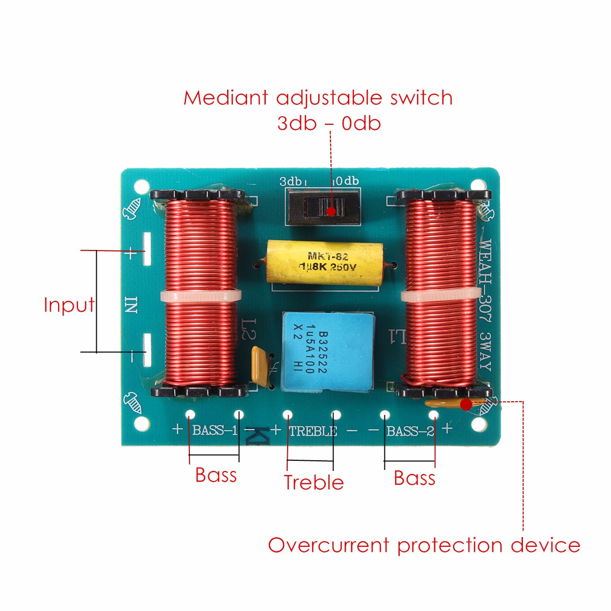 Treble Bass 3 Way Frequency Divider Speaker Audio Crossover Filters How To Build A Network Circuit Board Diy
