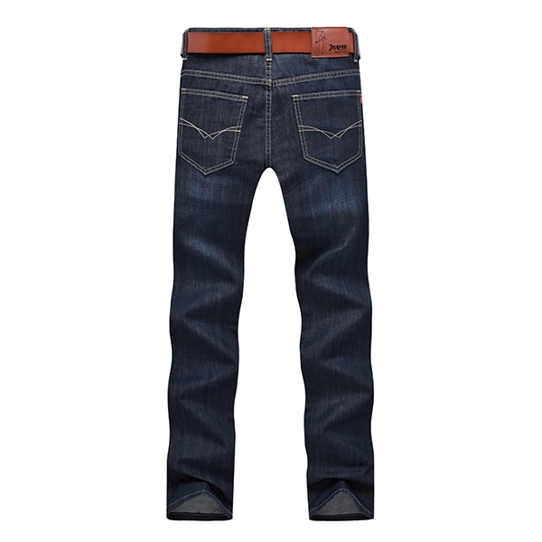 Mens Autumn Casual Straight Leg Jeans Mid-Rise Slim Fit Denim Pants