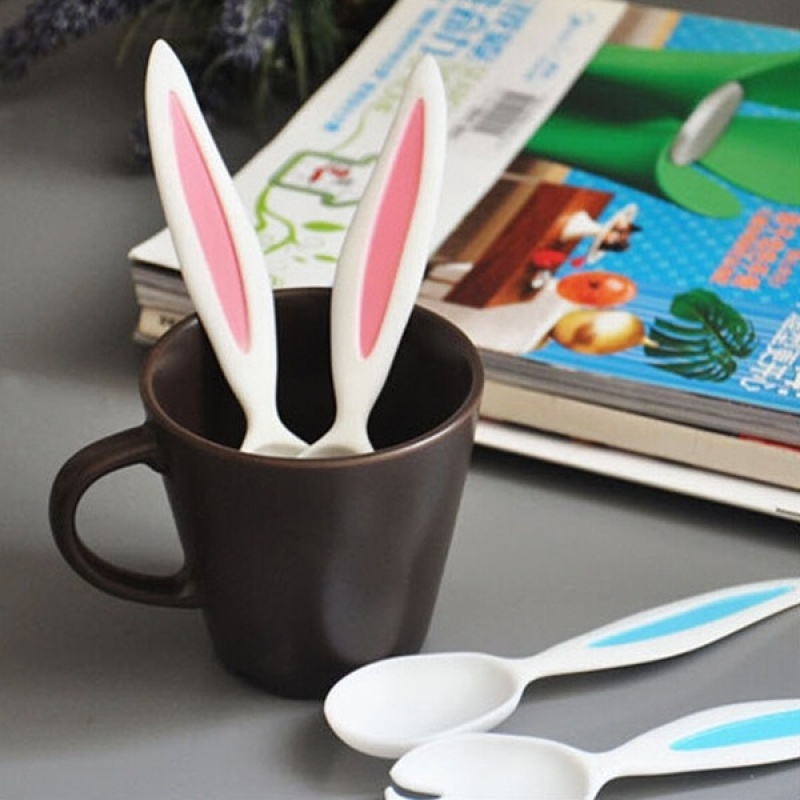 Rabbit Ears Baby Spoon and Fork Set Children Tableware Kids Cutlery Baby Learnning Dishes Dinnerware