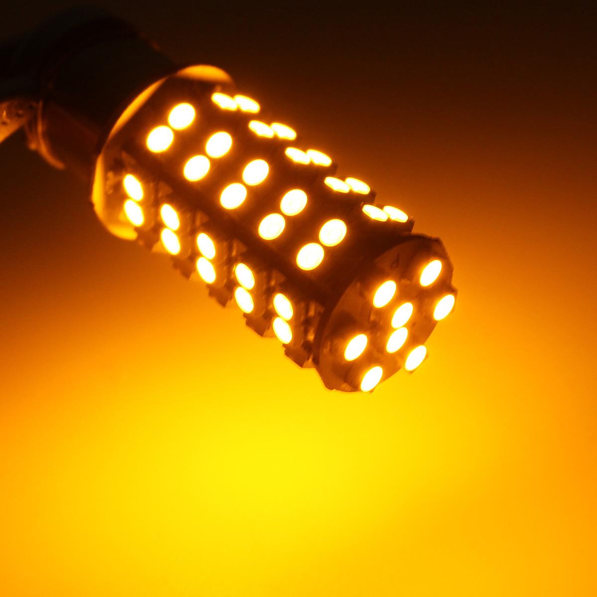 2PCS BAU15S 7507 PY21W 68SMD LED Car Turn Signal Lights Tail Brake Bulbs DC12V 4W Amber