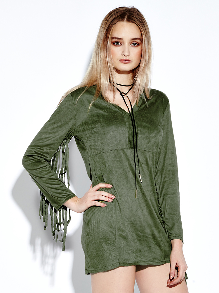 Sexy Suede Tassels V-neck Long Sleeve Women Green Mini Dresses