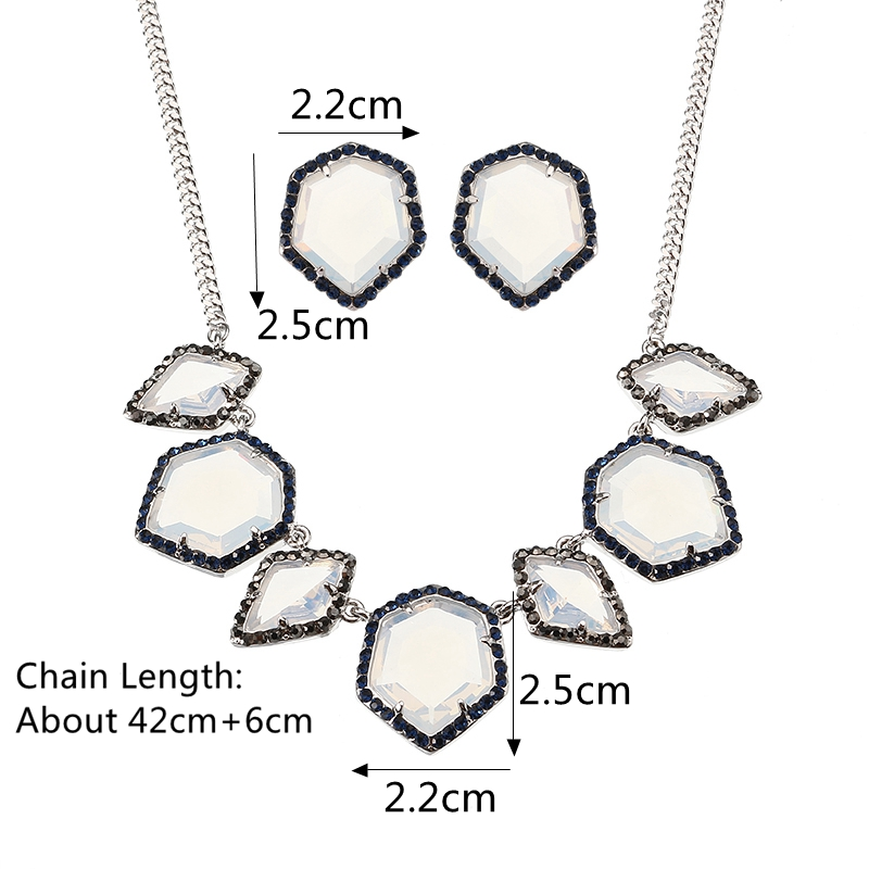 JASSY® Luxury Women Jewelry Set Elegant Platinum Plated White Opal Crystal Necklace Earrings Gift