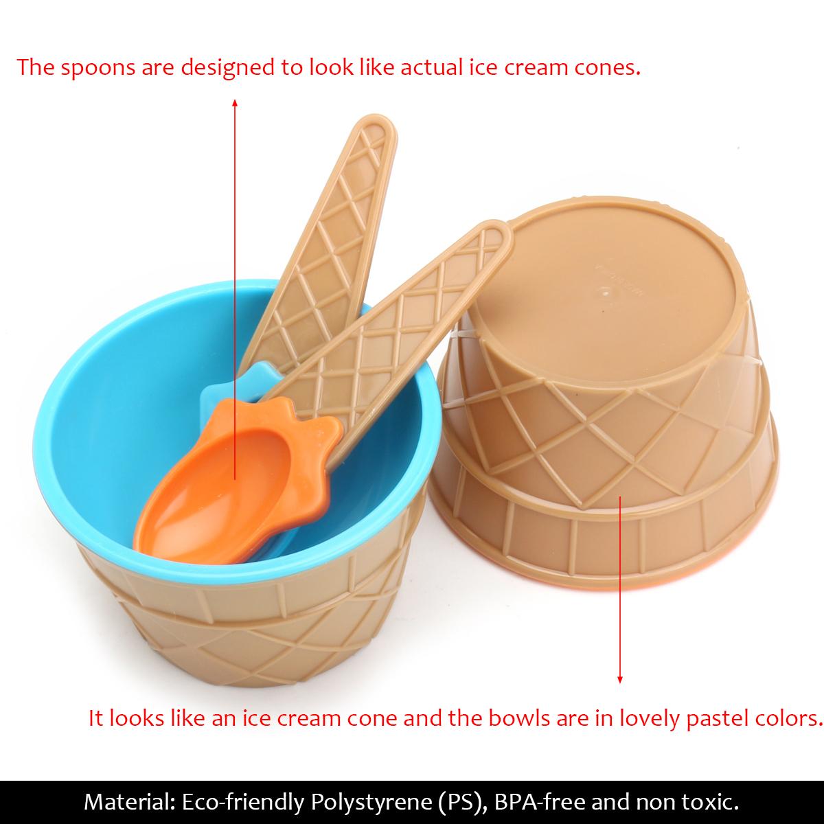 6PCS Children's Plastic Ice Cream Bowls Spoons Set Durable Ice Cream Cup Dessert Bowl
