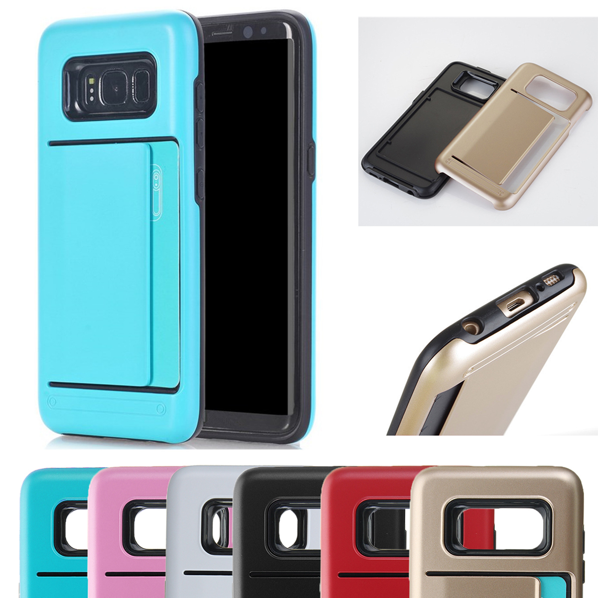 Multi-colors TPU+PC Hybrid Card Slots Shockproof Armor Cover Case For Samsung Galaxy S8 Plus