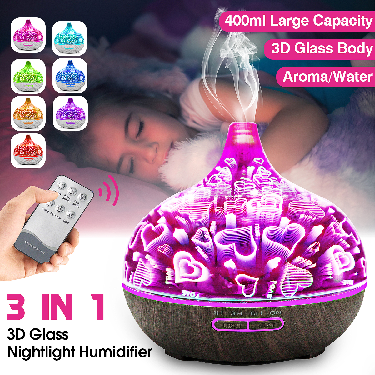 Remote Control Electric Ultrasonic Diffuser Air Humidifier With LED Light