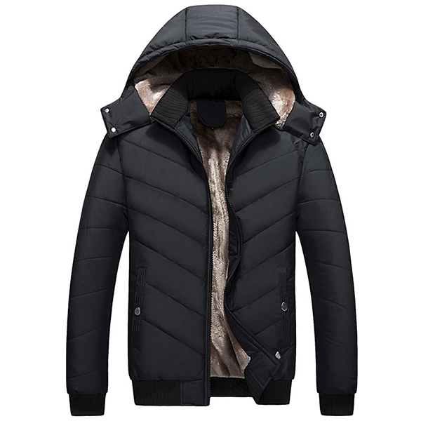 Mens Winter Thick Hooded Detachble Jacket Warm Stand Collar Solid Color Polyester Coat
