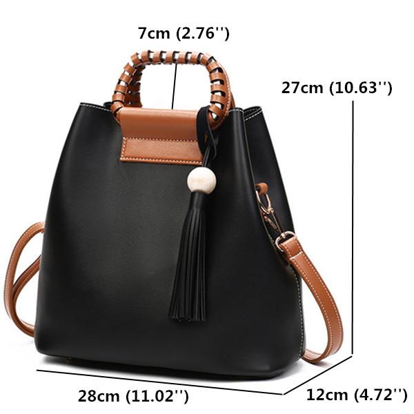 Women PU Tassel Bucket Bags Casual Shoulder Bags Large Capacity Crossbody Bags Shopping Tote