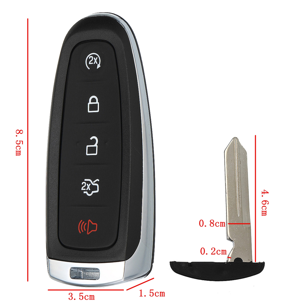 5 Buttons Remote Key Fob Case Shell For Ford Edge Explorer Escape Flex Focus