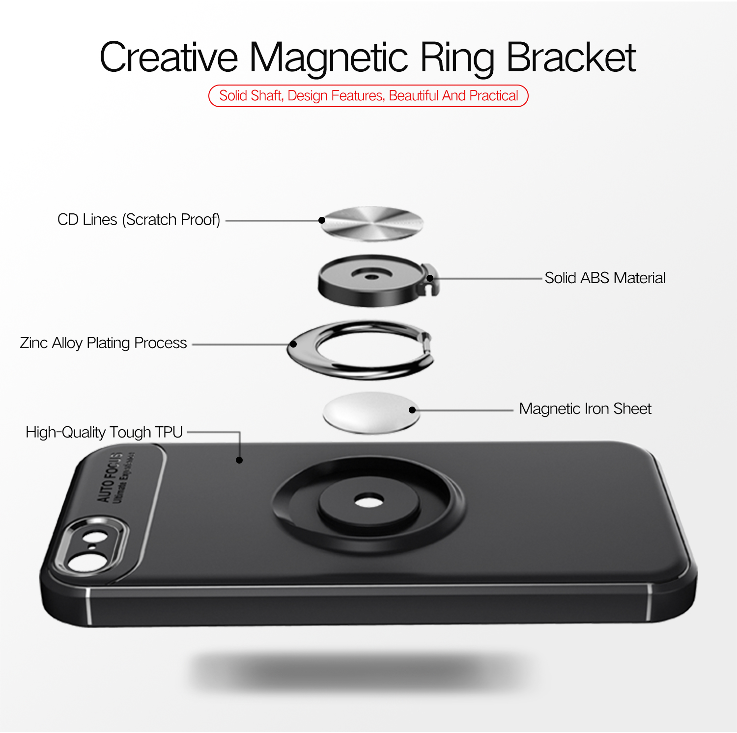 C-KU 360º Rotating Ring Grip Kicktand Protective Case For iPhone 5/5s/SE