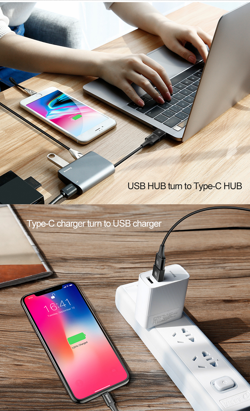 Baseus Type C Male to USB Female Cable U Disk OTG Adapter Plug Converter for Tablets PC Smartphone