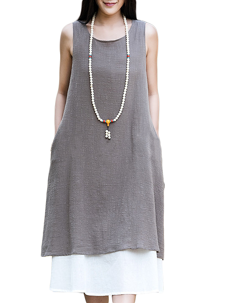 Women Mori Girl Loose Sleeveless Solid Cotton Linen Sundress
