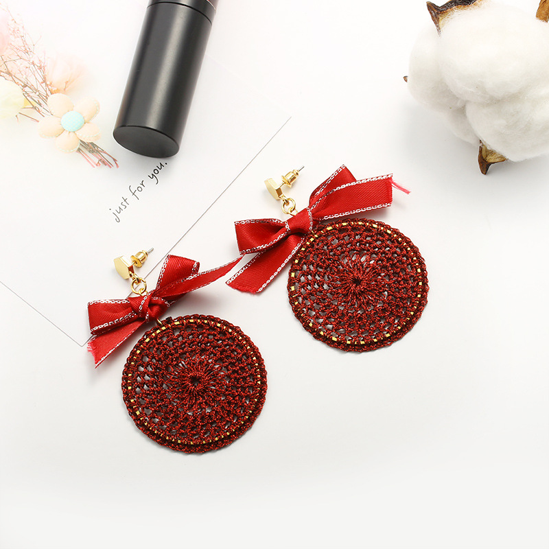 Ethnic Bowknot Round Plate Charm Dangle Earrings for Women