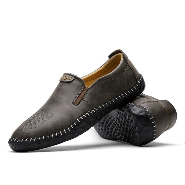 Men Comfortable Hand Stitching Leather Elastic Band Slip On Oxfords