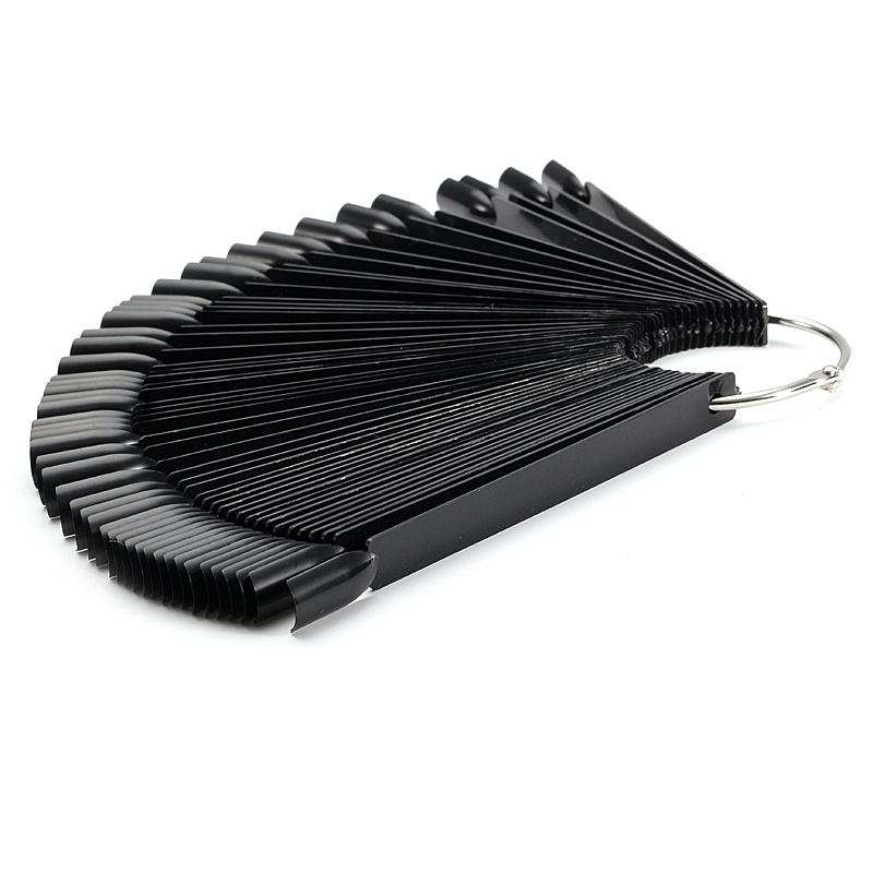 50pcs Black False Nail Polish Display Tip Stick Ring Fan Board Stand Manicure Practice Tool