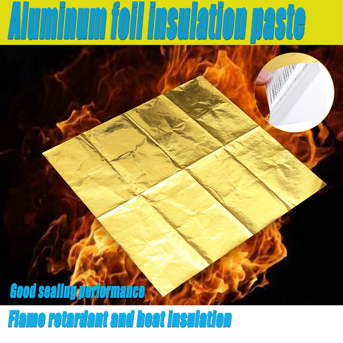 600x600mm Self Adhesive Reflective Tape Aluminum Foil Insulation High Temperature Heat Shield Wrap