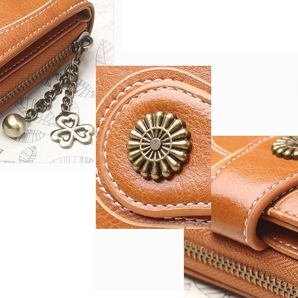 Women's Oil Wax Purse Three Fold Coin Bag Clutch Wallet