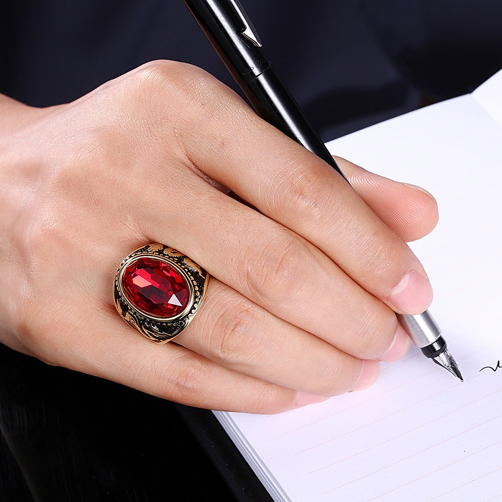 Trendy Red Glass Titanium Steel Ring Gold Plated Ball Ring for Men Women