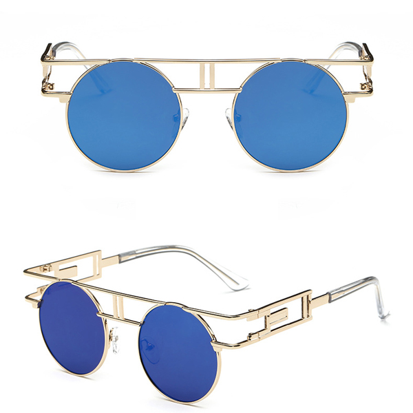 Women Vintage UV400 Sunglasses Men Retro Steampunk Round Mirror Lens Glasses