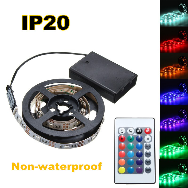 30/50/100/150/200CM 5050 RGB LED Flexible Strip Light + Remote Battery Powered Party Home Decor DC5V
