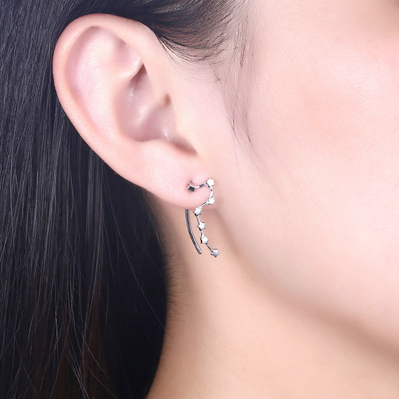 INALIS Trendy 925 Sterling Pure Silver star Pendant Earring