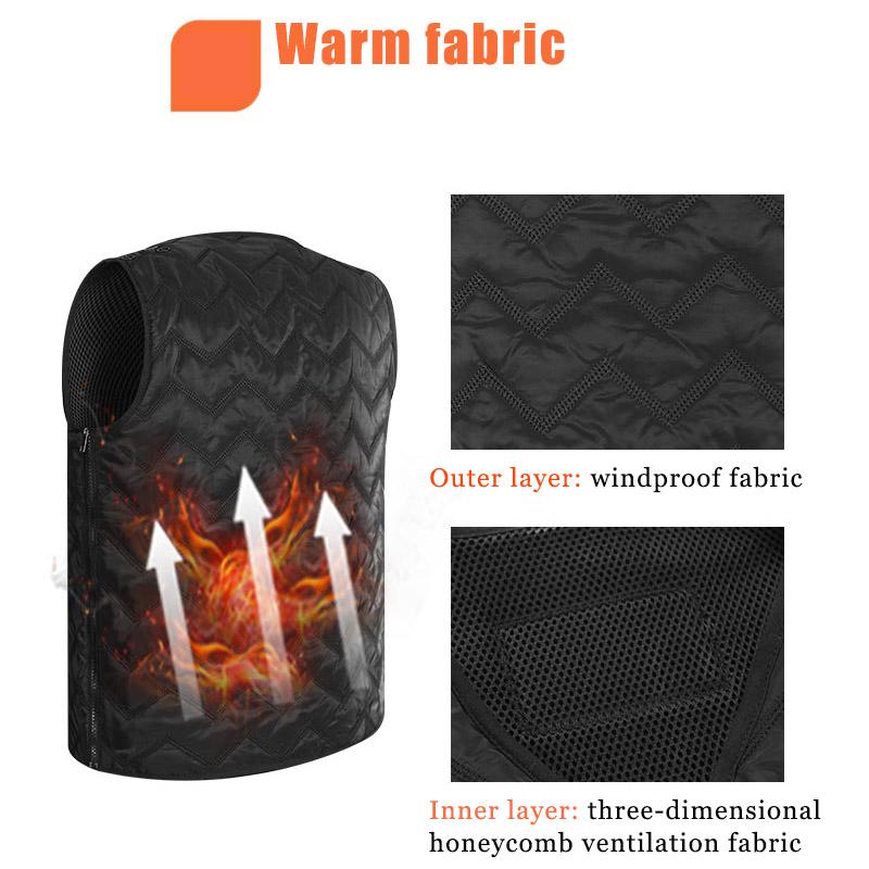 Men Women Electric Heating Vest Jacket Winter Warm Heated Pad Winter Body Warmer