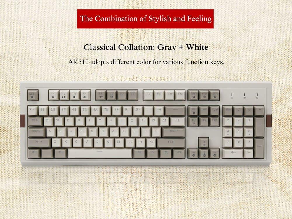 Ajazz AK510 Retro RGB Mechanical Keyboard 104 Key PBT Ball Key Cap Brown Black Switch Grey Classics Version Wired Keyboard