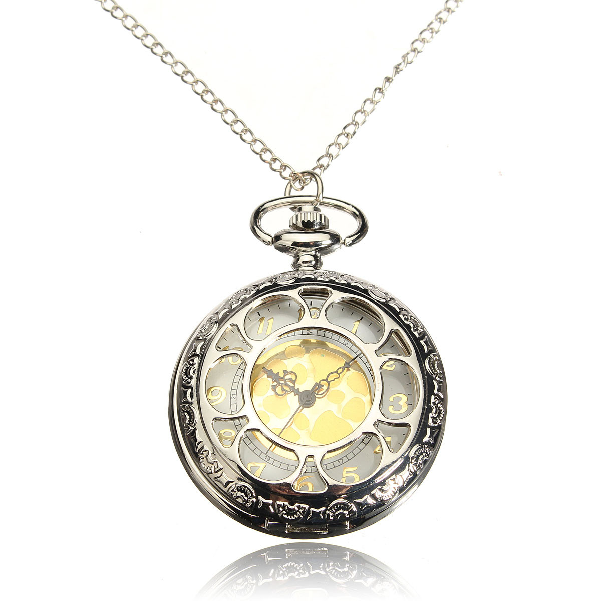 Antique Hollow Petals Quartz Pocket Watch
