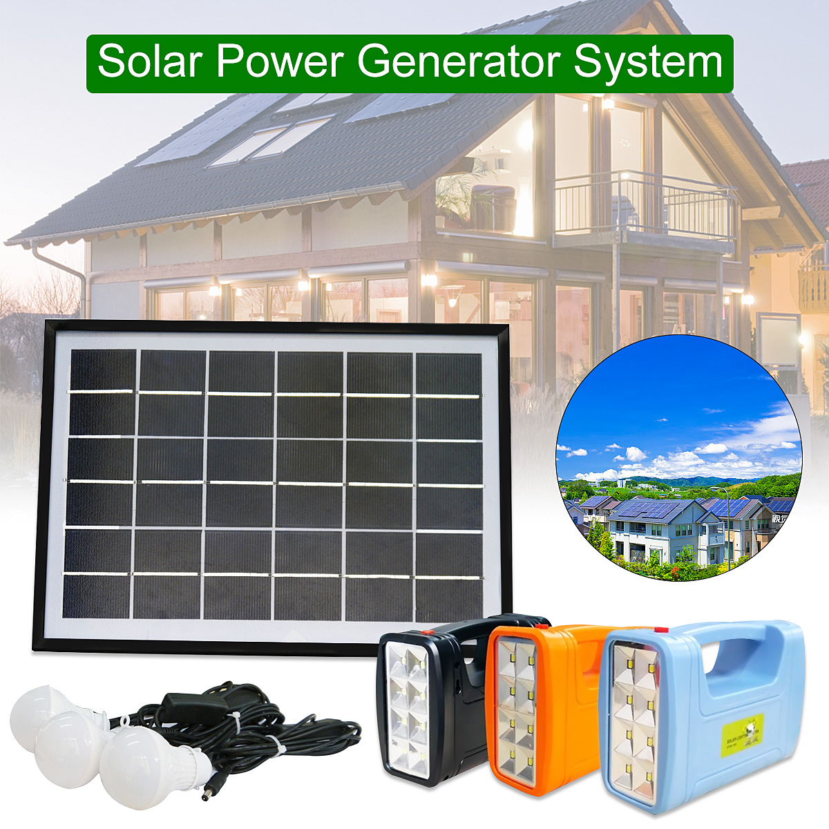 3W Solar Panel Portable Solar AC Kit Solar Power System Camping Portable Generator With Bulbs