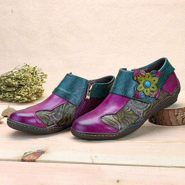 SOCOFY Printing Splicing Leather Flats