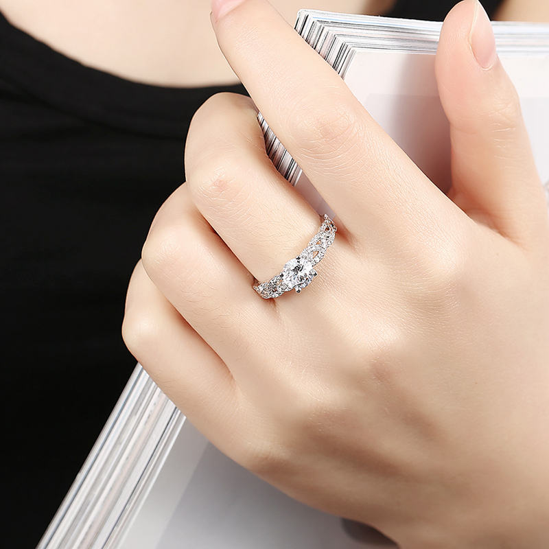 INALIS 925 Sterling Silver Women Wedding Ring Elegant Woven Shape Gemstone Anallergic Gift
