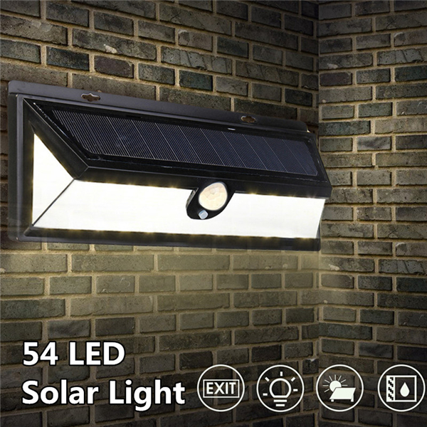 54 LED Solar Powered Motion Sensor Light Waterproof Security Wall Lamp for Outdoor Garden Yard Path