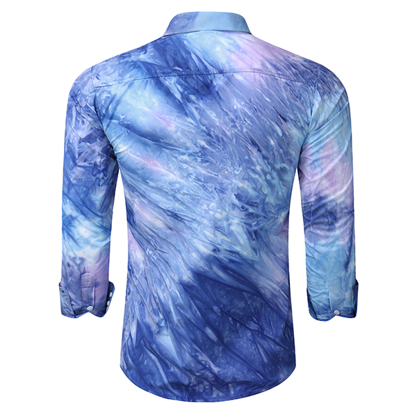 Bandhnu Tie-dyed Three-color Stitching Graffiti Slim Fit Button up Design Shirt for Men