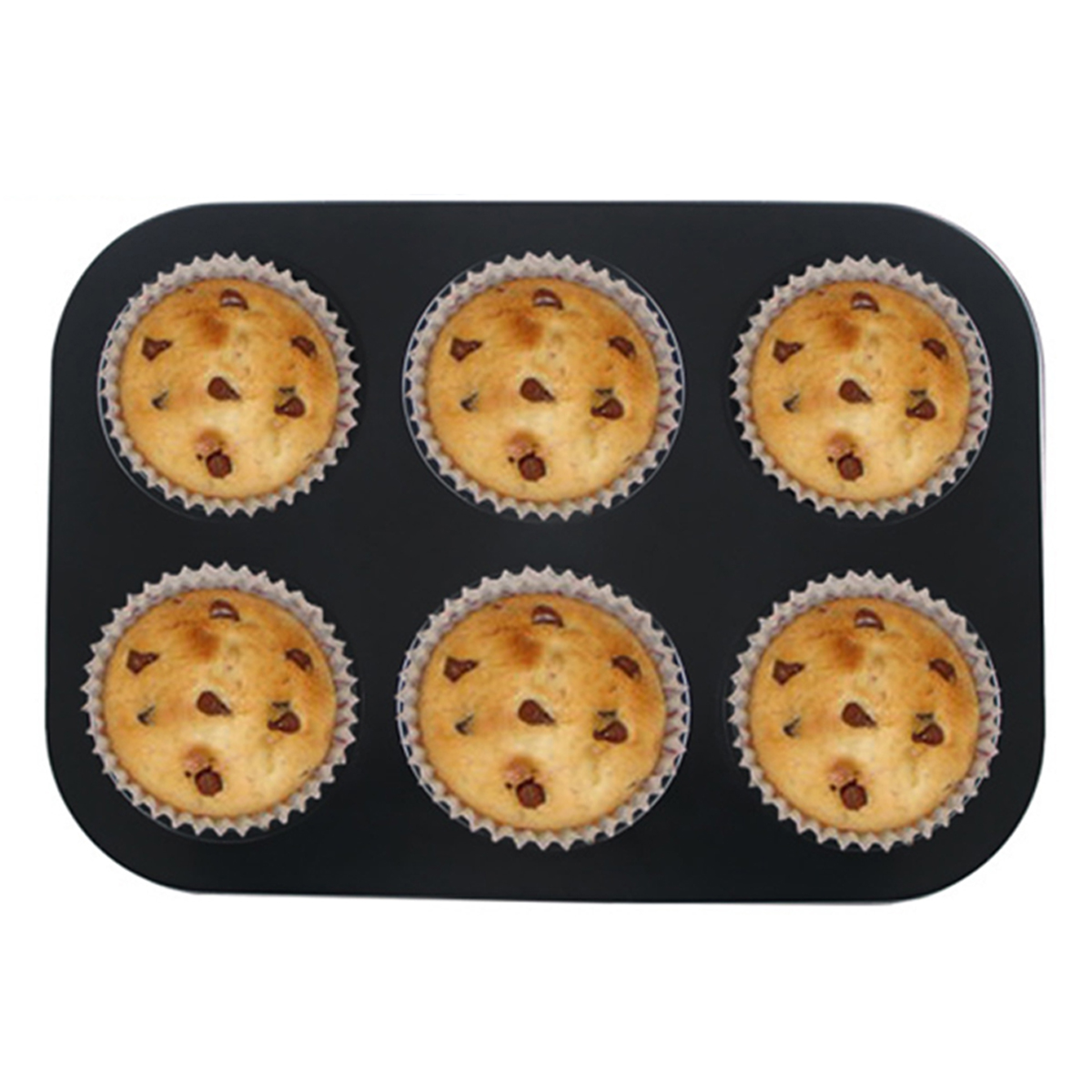 6pc Muffin Pan Baking Cooking Tray Mould Round Bake Cup Cake Gold/Black
