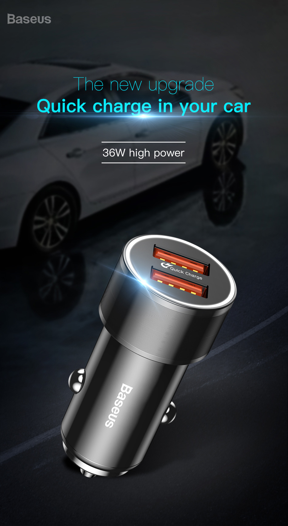 Baseus 36W QC3.0 Dual USB Ports Fast Car Charger For iPhone X 8Plus Oneplus 5T Xiaomi Mix 2S S9+