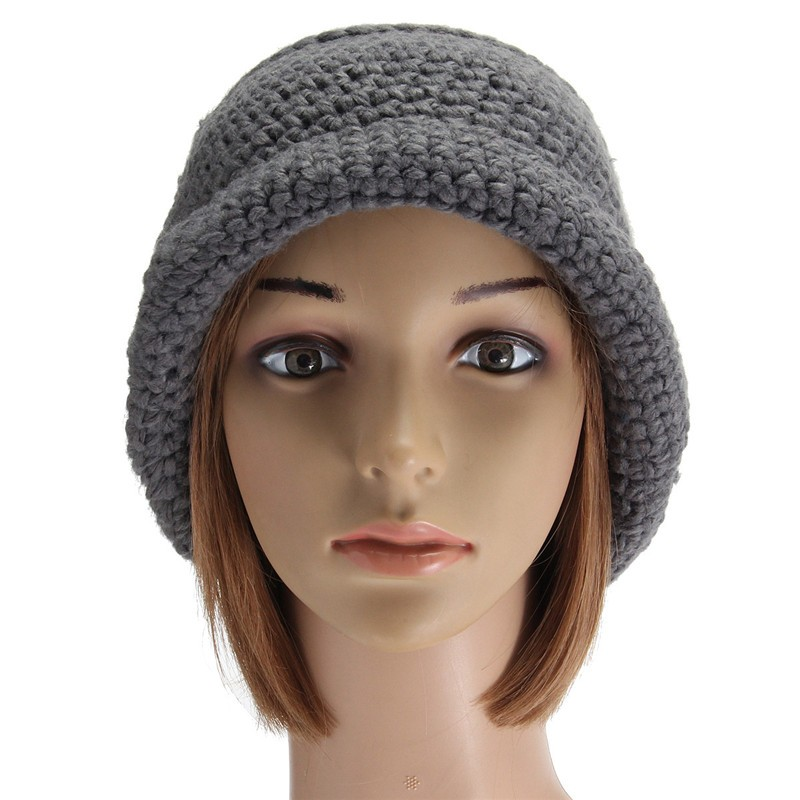 Women Ladies Slouch Baggy Woolen Yarn Crochet Beanie Hat Winter Warm Knitted Cap