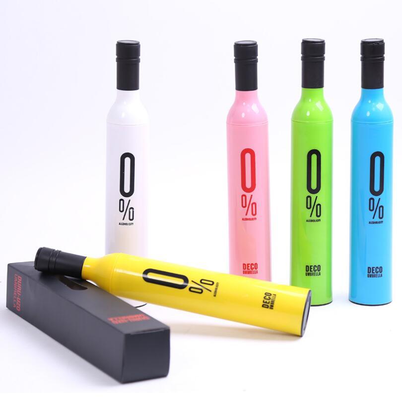 2018 New Creative Women Wine Bottle Umbrella 3 Folding Sun-rain UV Mini Umbrella For Women Men Gifts