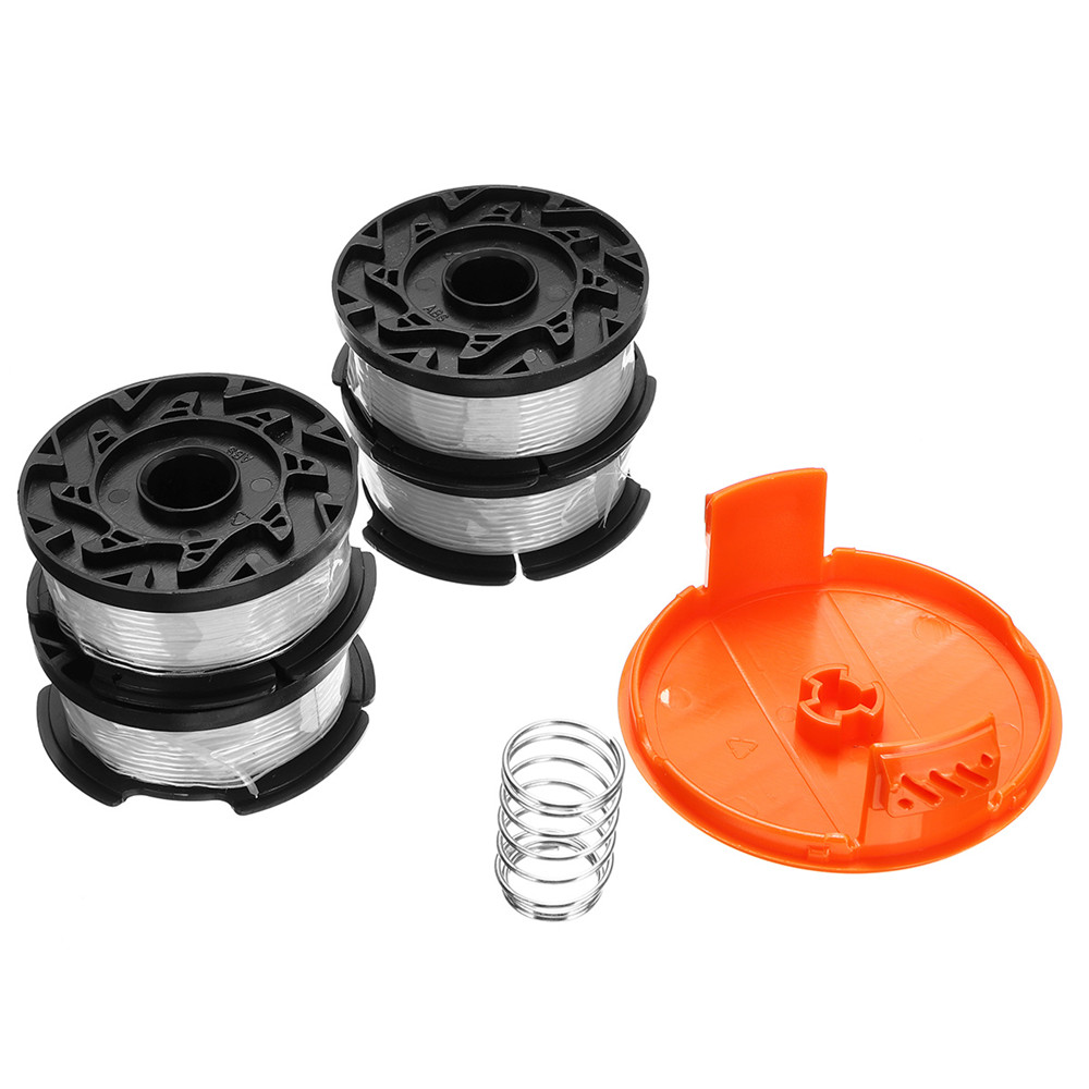 4pcs 30 Inch Trimmer Line With Replacement Spool Cap Cover / Spring For BLACK/DECKER String Trimmers