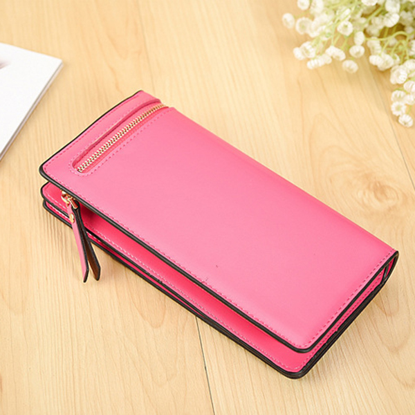 Stylish PU Leather Multi Slot Long Wallets Card Holder Purse For Women