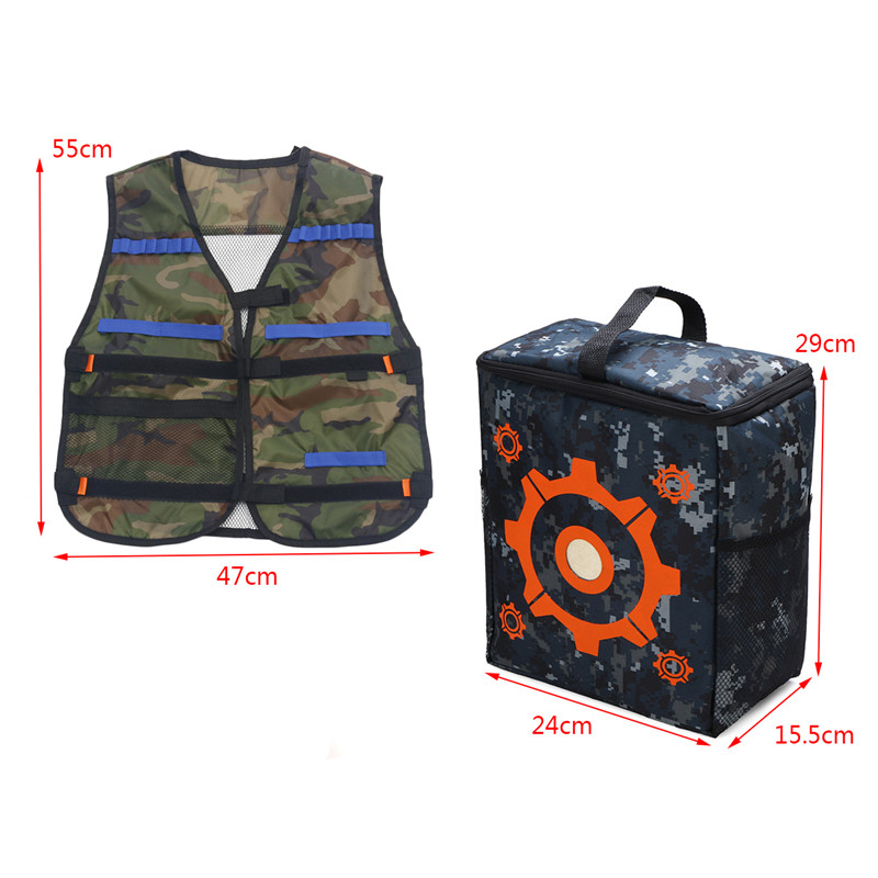 Worker Storage Target Bag And 1pcs Adjustable Blue Vest Jacket for NERF N-Strike Novelties Toys