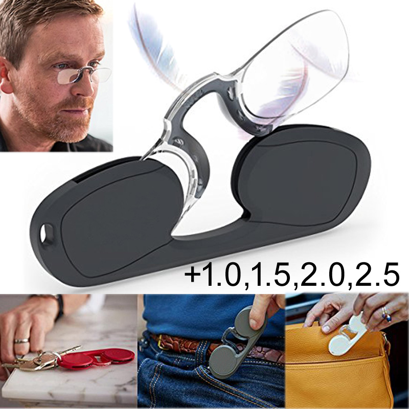 Portable Nose Clip Glass Ultra-lightweight Reading Glasses