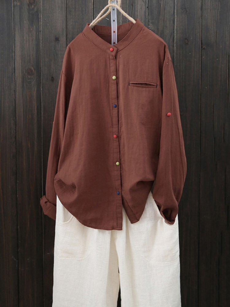 Women Long Sleeve Casual Buttons Cotton Asymmetric Blouse
