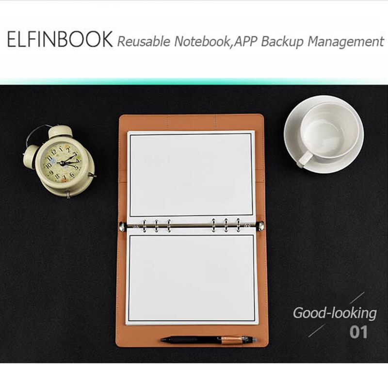 Elfinbook X Reusable Smart Wirebound Leather Erasable Notebook Digital Tablets Cloud Storage