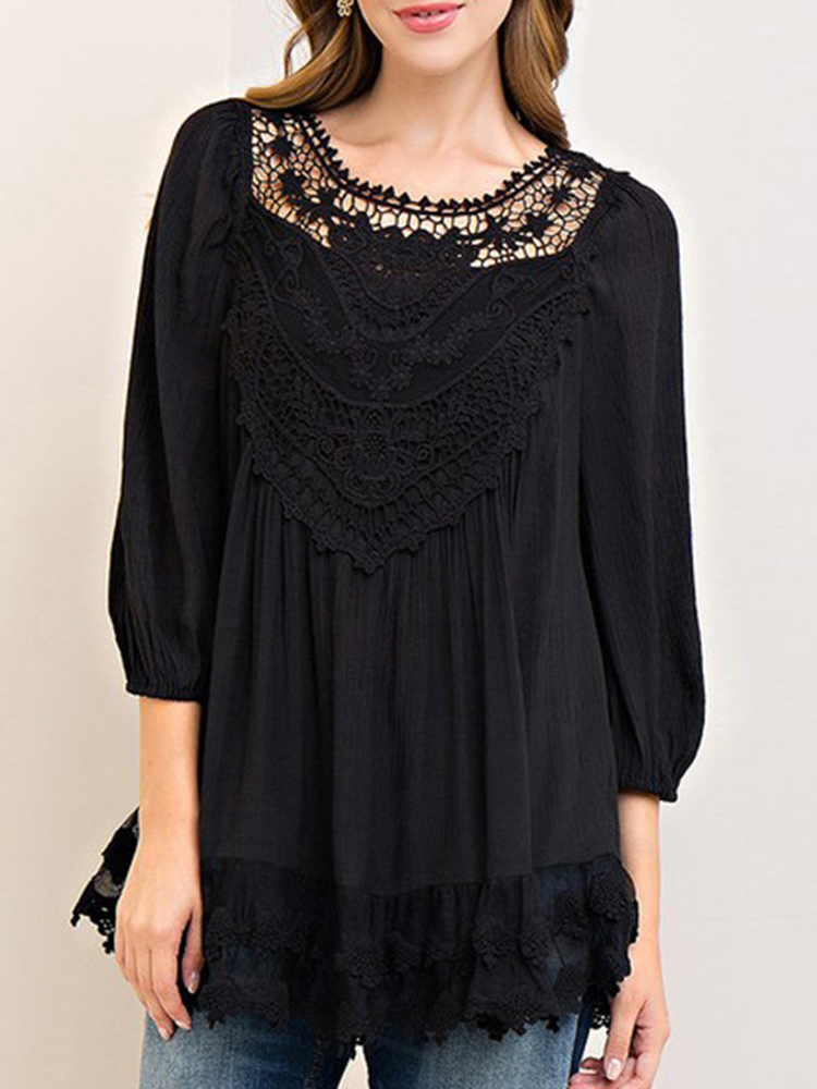 Women Solid Color Lace Patchwork 3/4 Sleeve Blouse