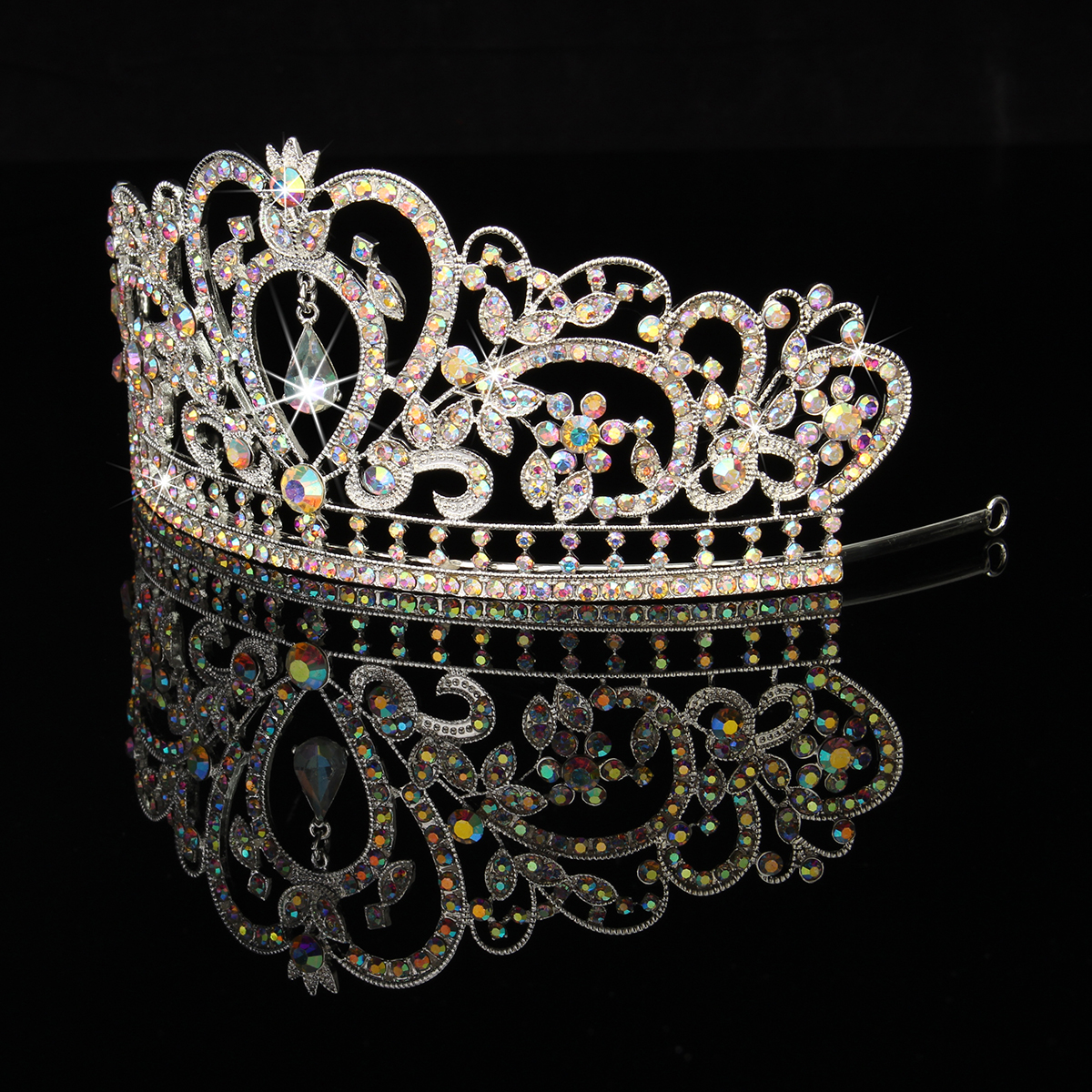 Bride Rhinestone Crystal Wedding Tiara Crown Prom Pageant Princess Crowns Bridal Veil Headbrand
