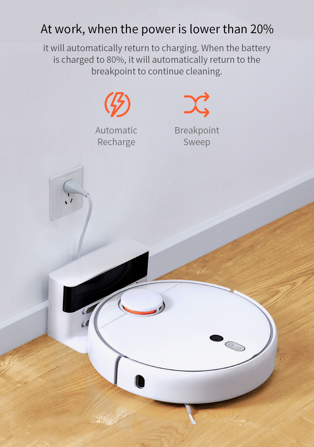 2019 XIAOMI Mijia 1S Robot Vacuum Cleaner AI Intelligent Planning, 5200mAh Battery, 2000Pa Strong Suction, MIJIA APP Control, LDS Laser navigation, Dual SLAM Fusion Algorithm