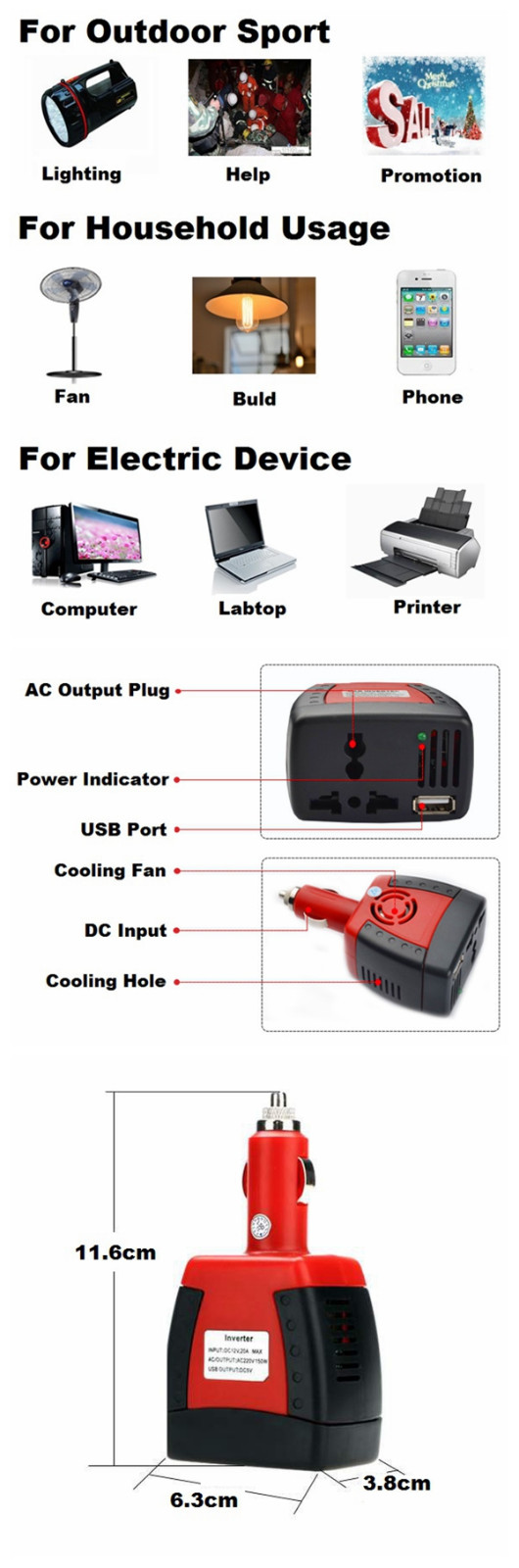 SGR-X1512-1 75W Car Power Inverter Power Supply Adapater Transformer DC 12V to AC 220V with USB Charger Port