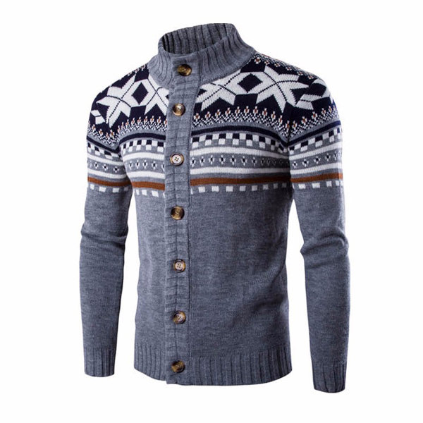 Men's Snowflake Printing Knitted Cardigan Sweater
