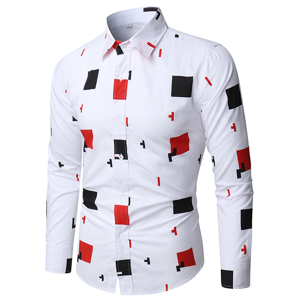 Mens Fashion White Casual Stylish Printing Designer Shirt Long Sleeve
